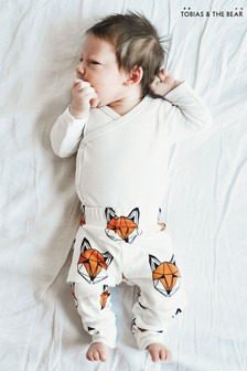 Tobias & The Bear White Just Call Me Fox Organic Cotton Leggings