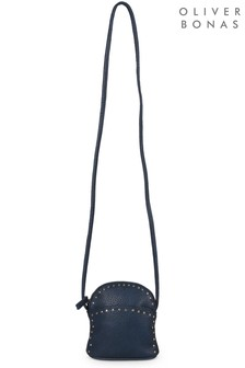Oliver Bonas Blue Delaine Stud Mini Cross Body Bag