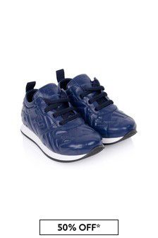 Fendi Kids Boys Navy Leather Logo Trainers