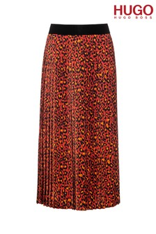 HUGO Red Replissa Cheetah Print Skirt