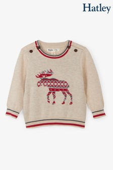 Hatley Natural Argyle Pattern Moose Baby Sweater