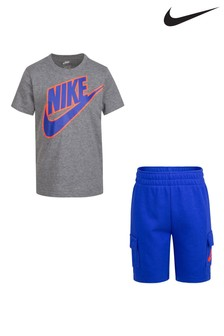 Nike Little Kids Grey T-Shirt And Cargo Shorts Set