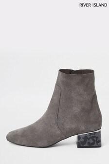 River Island Grey Toppadom Heel Detail Boots