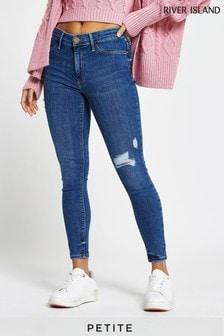 River Island Petite Denim Medium Molly Mid Rise Strand Jeans