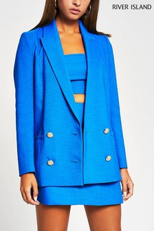 River Island Blue Bright Drop Break Blazer