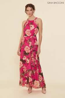 Gina Bacconi Pink Cortana Floral Belted Dress