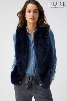 Pure Collection Blue Faux Fur Gilet