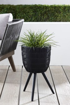 Woven Plant Pot On Stand