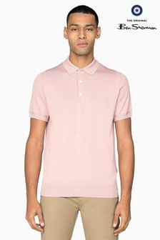 Ben Sherman Main Line Pink Short Sleeve Knitted Polo