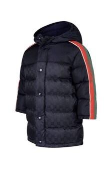 GUCCI Kids Baby Boys Navy Jacquard Jacket