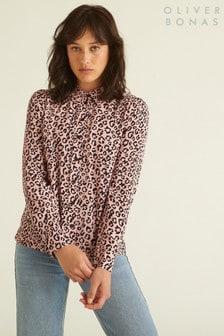 Oliver Bonas Pink Animal Print Shirt