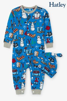 Hatley Blue Winter Traditions Baby Coverall And Hat