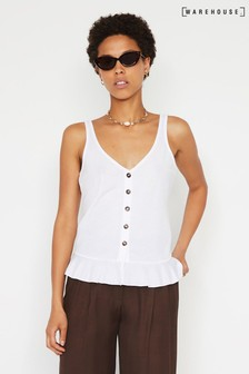 Warehouse White Pique Button Through Cami