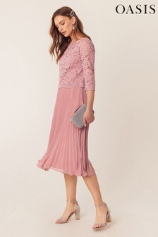 Oasis Pink Lace Top Midi Dress*