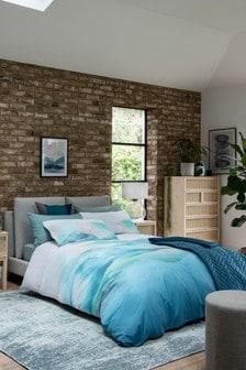 Teal 100% Cotton Artist-Made Watercolour Duvet Cover and Pillowcase Set