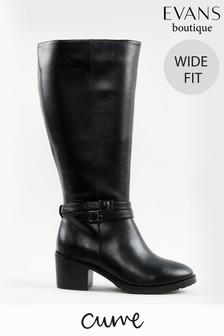 Evans Curve Extra Wide Fit Black Knee High Faux Leather Boots