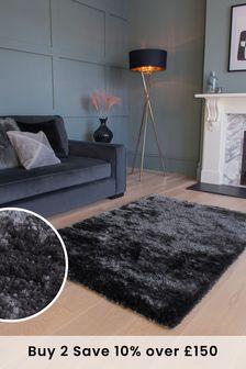 Charcoal Grey Plush Velveteen Rug