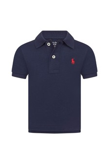 Ralph Lauren Kids Baby Boys Navy Cotton Polo Shirt