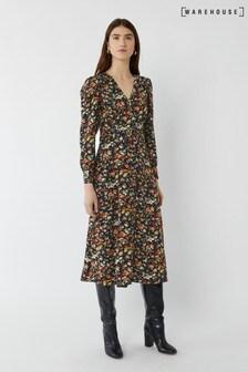 Warehouse Black Rose Floral Belted Midi Dress