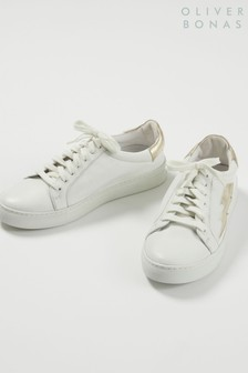 Oliver Bonas Lightning Bolt White Leather Trainers