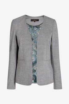 Sharkskin Texture Collarless Tailored Jacket