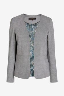 Sharkskin Texture Collarless Tailored Jacket