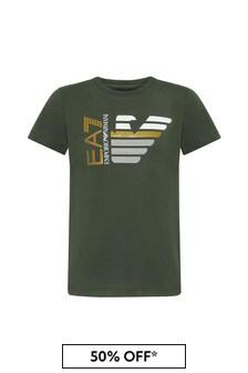 Boys Khaki Cotton T-Shirt