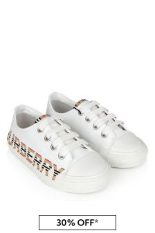 Burberry Kids White Cotton Trainers