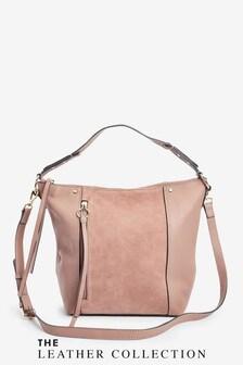 Zip Detail Leather Slouchy Hobo Bag