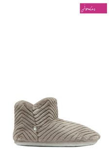 Joules Grey Cabin Luxe Faux Fur Lined Slippers With Rubber Sole