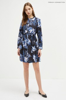 French Connection Blue Caterina Crepe Shirt Dress