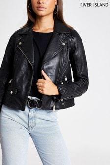 River Island Black Leather Geller Biker Jacket