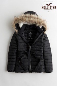 Hollister Black Belted Padded Jacket