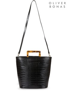 Oliver Bonas Black Tort Handle Croc Tote Bag