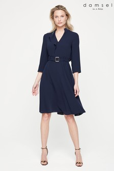 Damsel In A Dress Blue Cindie Belted Dress