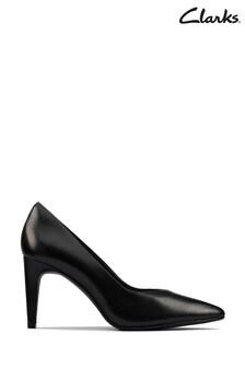 Clarks Black Leather Genoa85 Court Shoes
