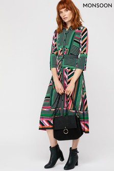 Monsoon Ladies Green Shalona Jersey Print Midi Dress