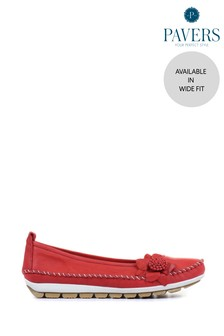 Pavers Red Ladies Wide Fit Casual Leather Flat Pumps