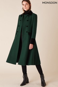 Monsoon Green Opera Skirted Coat