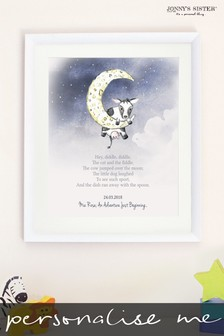 Personalised Hey Diddle Diddle Framed Illustration by Jonnys Sister
