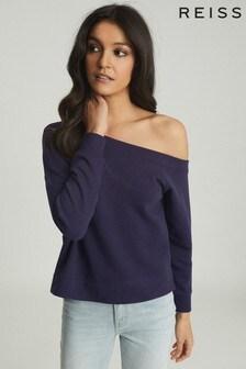 Reiss Blue Poppy Off-The-Shoulder Sweatshirt