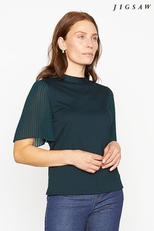 Jigsaw Blue Pleat Sleeve Top