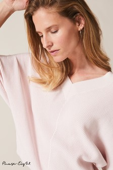 Phase Eight Pink Rylie Riple Stitch V-Neck Jumper