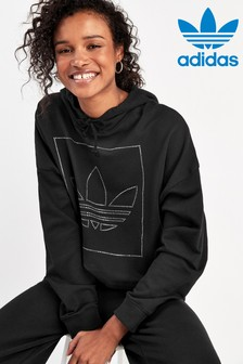 adidas Originals Black Fakten Cropped Hoody