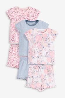 3 Pack Floral Short Pyjamas (9mths-12yrs)