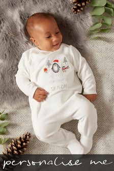 Personalised My First Christmas Velour Sleepsuit