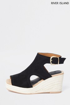 River Island Black Square Toe Cut-Out Shoes