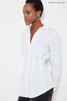 חולצה מכותנה בגזרה גבוהה של Mint Velvet