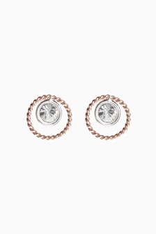 Rose Gold Plated Crystal Stud Earrings