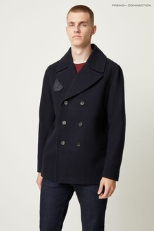 French Connection Blue Winter Melton Ink Coat